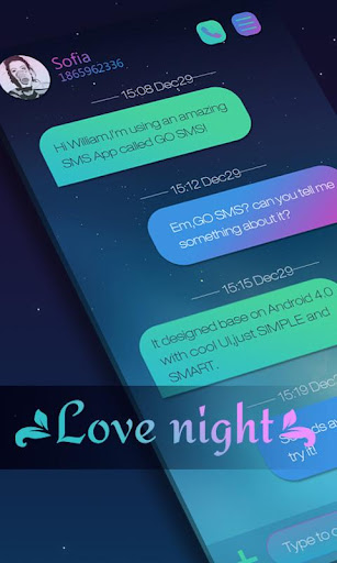 GO SMS LOVE NIGHT THEME