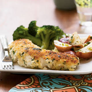 Garlic-and-Herb Oven-Fried Halibut.