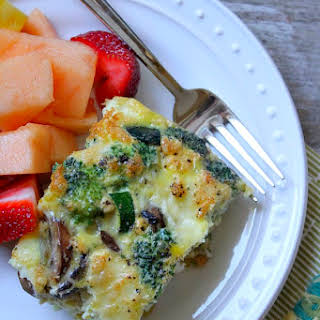 Crustless Brie, Vegetable and Egg Bake.