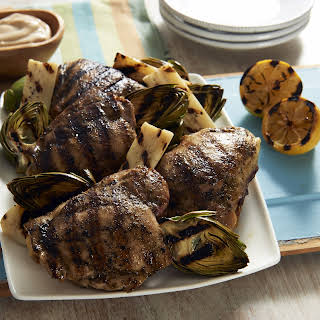 Tim Love's Balsamic Grilled Chicken Thighs with Grilled Artichokes and Hearts of Palm.