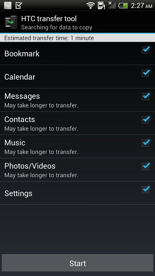 HTC Transfer Tool - screenshot