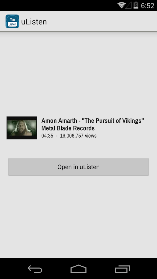 uListen (YouTube Audio) - screenshot