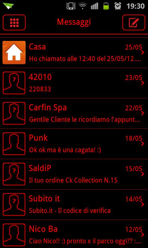 GO SMS Theme Messages Red - screenshot
