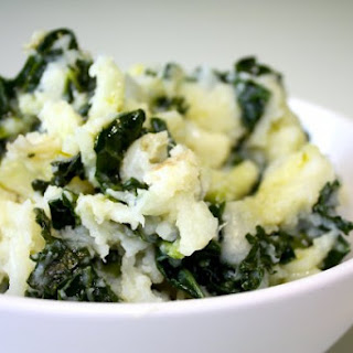 Mashed Potatoes with Goat Cheese & Kale.
