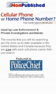 Free Cell Phone Number Lookup - screenshot thumbnail