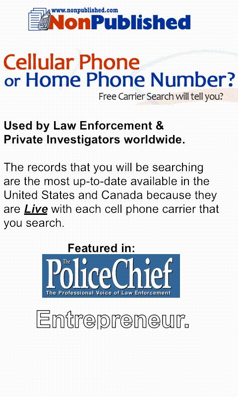 Free Cell Phone Number Lookup - screenshot