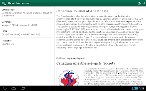 Canadian Journal of Anesthesia - screenshot thumbnail