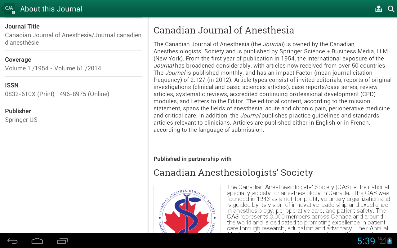 Canadian Journal of Anesthesia - screenshot