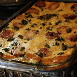 Egg- Mushroom Kielbasa Bake.