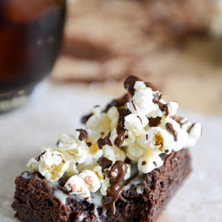 Buttered Popcorn Crunch Brownies.