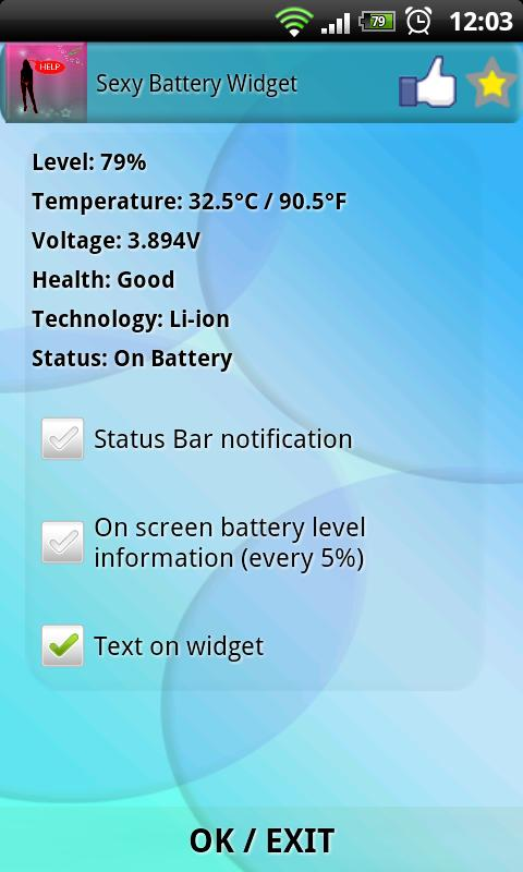 Sexy Battery Widget - screenshot