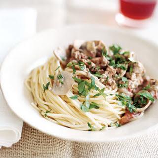 Spaghetti with Beef Mushroom Sauce.