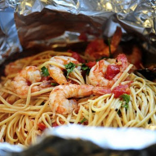 Shrimp Pasta in a Foil Package.