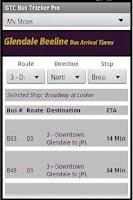 Screenshot of GlenDale Beeline Bus Times