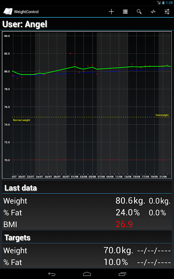 Weight Control - screenshot