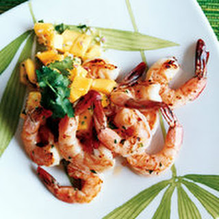Grilled Brined Shrimp with Mango Salsa.