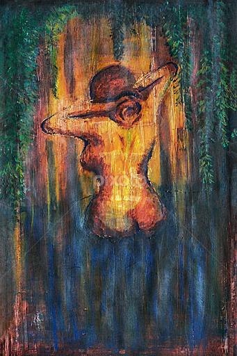 Woman Bathing In A Pond By Nizam Akanjee