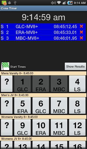 Crew Timer Regatta Timing App