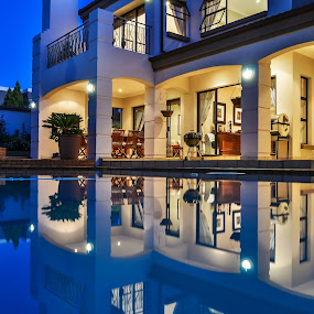 Dimensional symmetry  by Alexius van der Westhuizen - Buildings & Architecture Homes ( luxury, home, two dimensions, reflections, swimming pool, house,  )