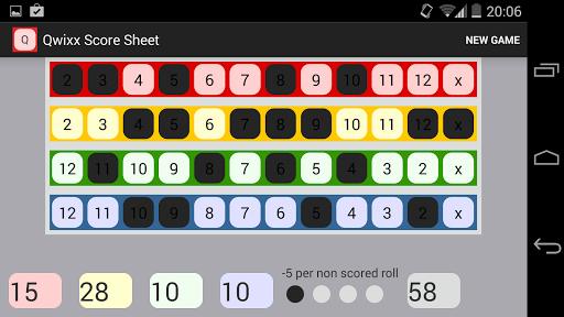Qwixx Score Sheet
