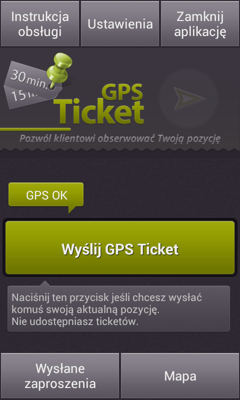 GPS Ticket – zrzut ekranu