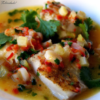 Asian Style Hake Fillets, in Butter Sauce with Cilantro and Lemon.