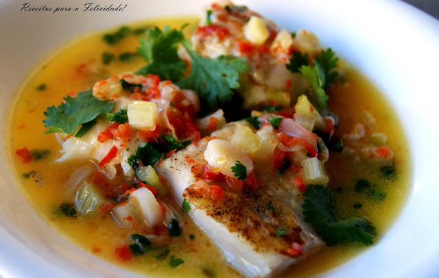 Asian Style Hake Fillets, in Butter Sauce with Cilantro and Lemon