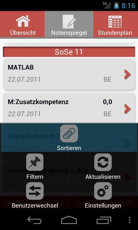 HS Karlsruhe NotenSpiegel - screenshot