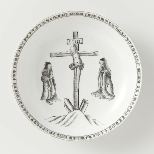 Saucer-dish tray with a crucifixion scene