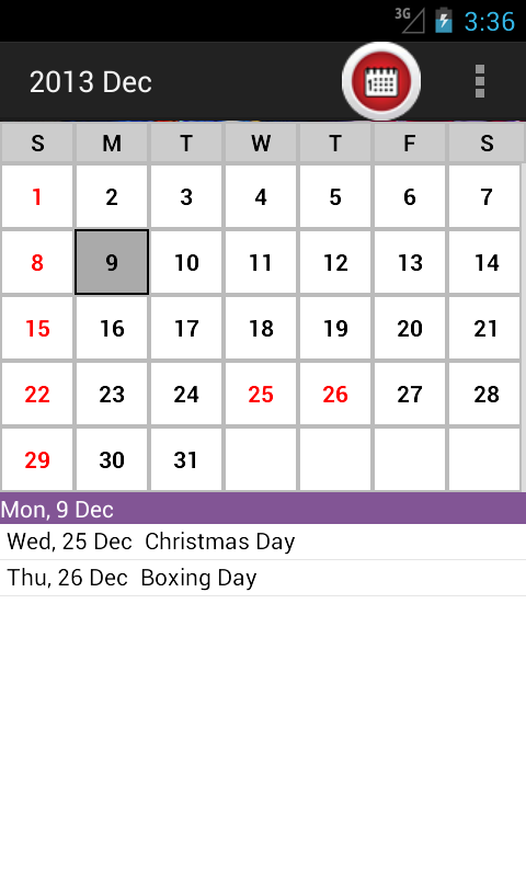 NZ Holiday Calendar 2014 - screenshot