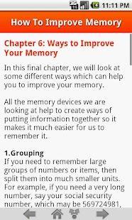 How To Improve Memory Screenshot