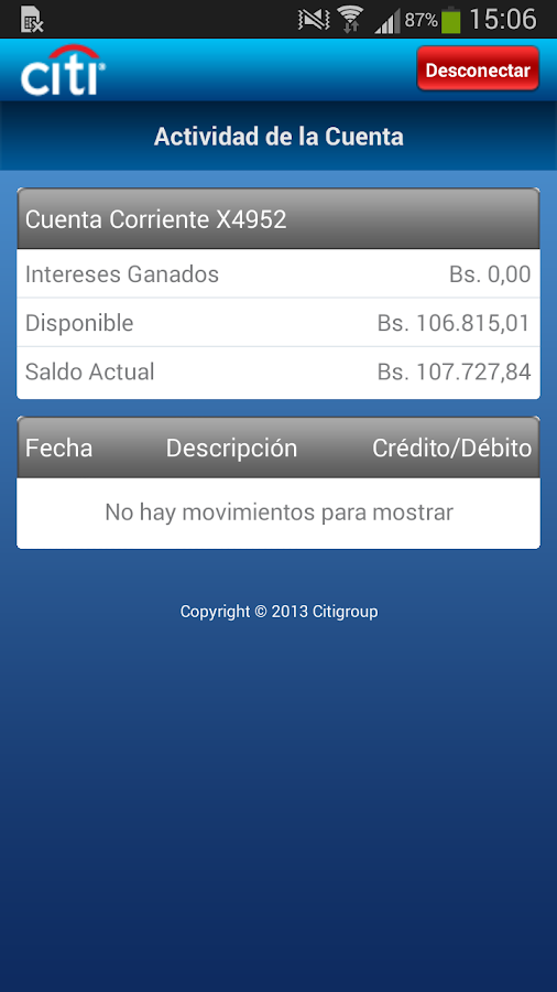 Citi Mobile VE- screenshot