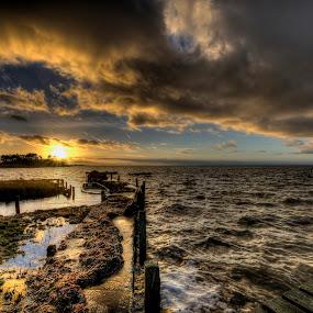 Winter is coming! by Kim  Schou - Landscapes Cloud Formations ( vensholm, kim schou, hdr, sunset, nakskov fjord,  )