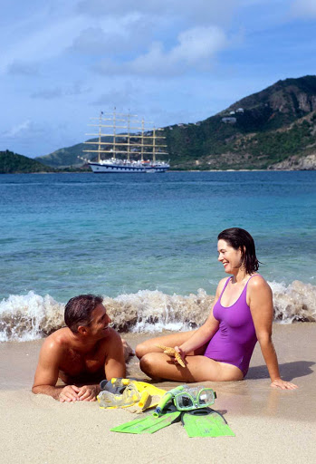 couple-with-Royal-Clipper - Couples will love spending quality time together on the beach during their Royal Clipper cruise.