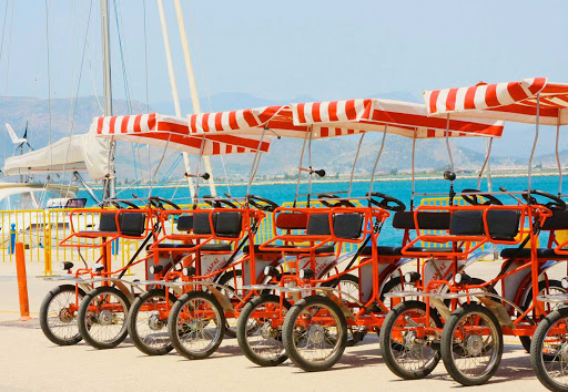 bicycles-Nauplia-Greece - Your chariot awaits! Pedal power in Nauplia, Greece, on the Peloponnesian Coast during a Europa 2 shore excursion.