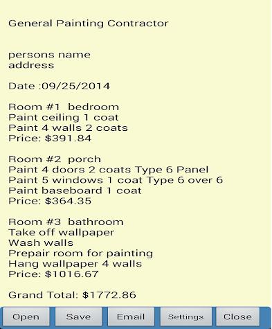 Painting Job Estimator Pro 3 Screenshot