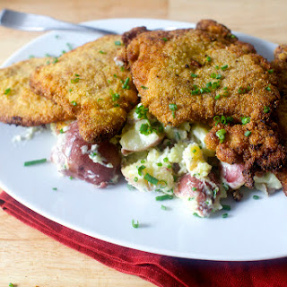 Cornmeal-Fried Pork Chops and Goat Cheese-Smashed Potatoes