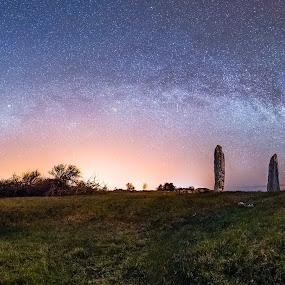 Seby Gravefield by Jörgen Tannerstedt - Landscapes Starscapes ( milkyway, sweden, kalmar, mörbylånga, grave, nightphotography, panorama, nightscape, tannerstedt, stars, night, alvaret, galaxy, öland )