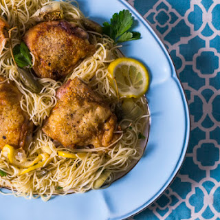 Lemon Caper Pasta with Artichoke and Chicken Thighs