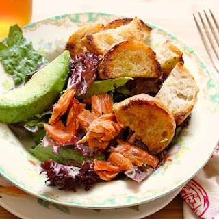 Buttered Crouton Salad with avocado and smoked salmon.