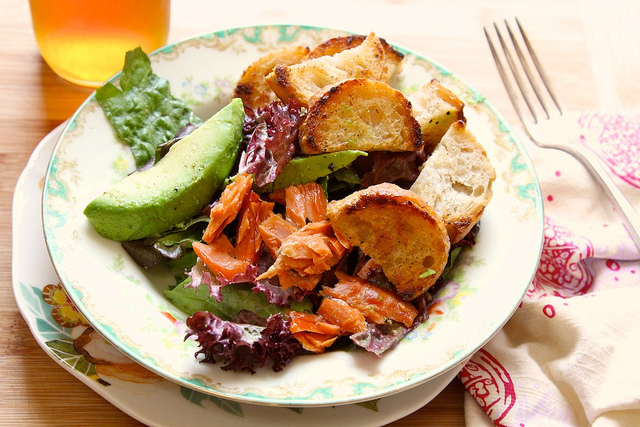 Buttered Crouton Salad with Avocado and Smoked Salmon Recipe