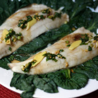 Steamed Walleye with Tatsoi, Ginger, and Scallions.