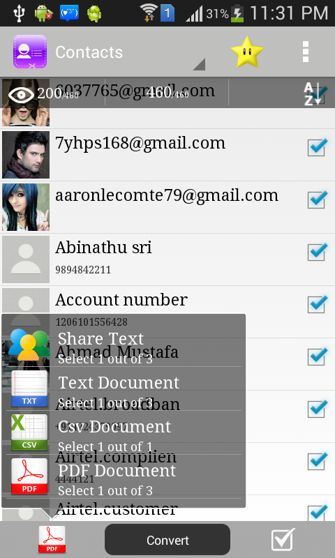 Contacts to PDF- screenshot