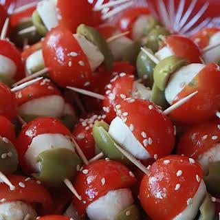 Tomato and Mozzarella Mini Kebabs.