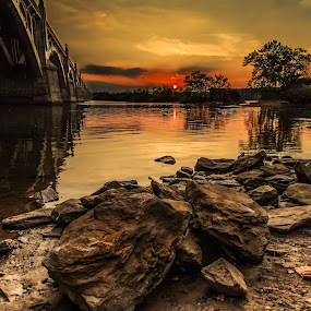 Veterans Bridge by Troy Snider - Buildings & Architecture Bridges & Suspended Structures ( water, sunset, beautiful, dramatic, trees, scenic, bridge, island, river )