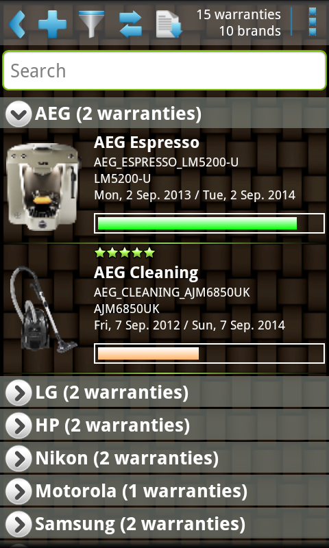 My Warranties - screenshot