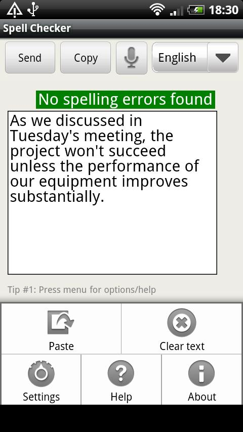 Spell Checker (+voice input) - screenshot