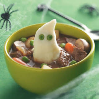 Beef Stew with Ghoulish Mashed Potatoes Recipe.