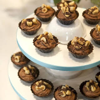 Chocolate-Hazelnut Mousse-Filled Cups.