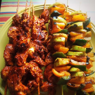 Firecracker Chicken and Chayote Skewers.